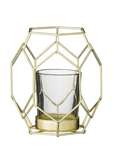Bloomingville Windlicht Glas & Metall gold