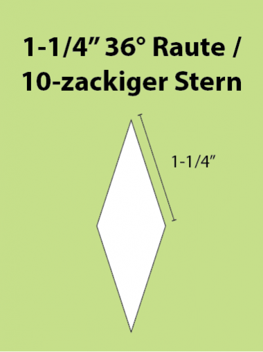 Paper Piecing Schablonen – 10-Point Diamond / 10-zackiger Stern 1-1/4 Inch