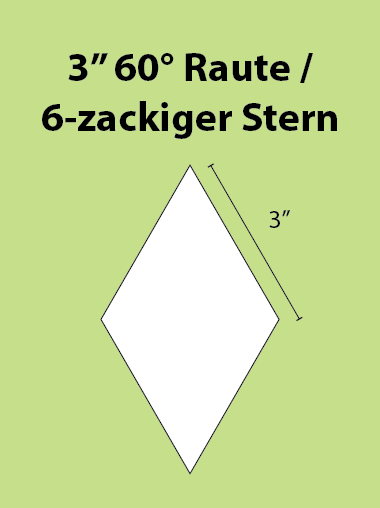 Paper Piecing Schablonen – 6-Point Diamond / 6-zackiger Stern 3 Inch