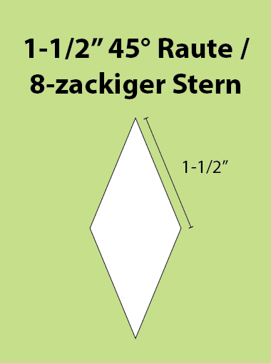 Paper Piecing Schablonen – 8-Point Diamond / 8-zackiger Stern 1-1/2 Inch