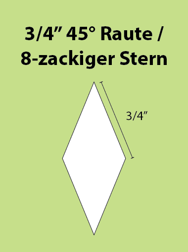 Paper Piecing Schablonen – 8-Point Diamond / 8-zackiger Stern 3/4 Inch