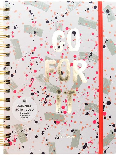 """Paper Poetry – Agenda 2019-2020 – Hardcover Mit Spiralbindung """"Go For It"""", Crafted Nature Mint / Pink, Groß"""
